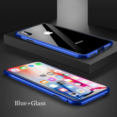 2021 brand new iPhone12 magnetic suction metal protection case double-sided toughened glass full protection phone case Niesaner