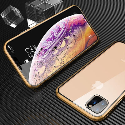 2021 brand new iPhone12 magnetic suction metal protection case double-sided toughened glass full protection phone case Niesaner for iPhone X Gold