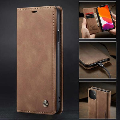 Business Retro Folding Frosted Flip Leather Cover Case For iPhone Niesaner