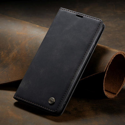 Business Retro Folding Frosted Flip Leather Cover Case For iPhone Niesaner For iPhone Xs Black