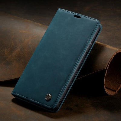 Business Retro Folding Frosted Flip Leather Cover Case For iPhone Niesaner For iPhone Xs Blue