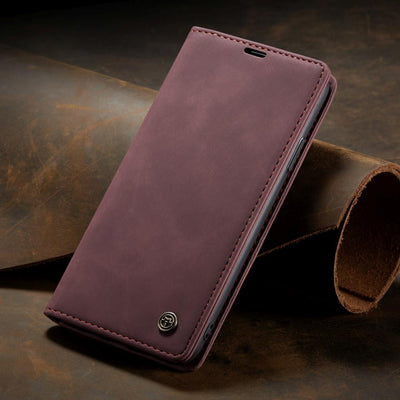 Business Retro Folding Frosted Flip Leather Cover Case For iPhone Niesaner For iPhone Xs Wine Red