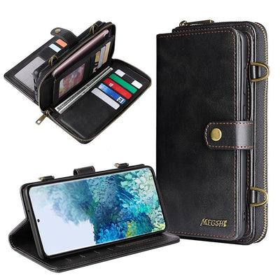 Detachable Wallet Leather phone case for Samsung Galaxy Niesaner Samsung S9 Black Case & Strap