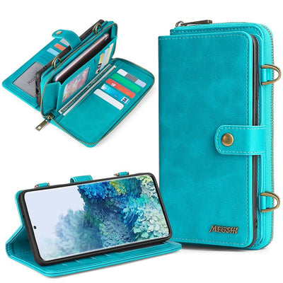 Detachable Wallet Leather phone case for Samsung Galaxy Niesaner Samsung S9 Blue Case & Strap