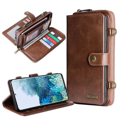 Detachable Wallet Leather phone case for Samsung Galaxy Niesaner Samsung S9 Brown Case & Strap