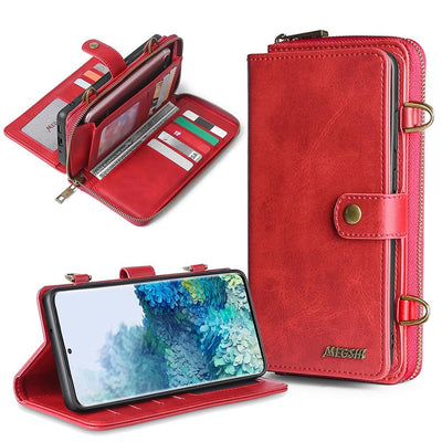 Detachable Wallet Leather phone case for Samsung Galaxy Niesaner Samsung S9 Red Case & Strap