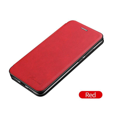 Leather Case For Samsung Galaxy S21 Plus Ultra S21Plus S21Ultra Samsungs21 Cases Wallet Flip Stand Cover Mobile Phone Bag Shell Niesaner S21 Plus/S21+ Red