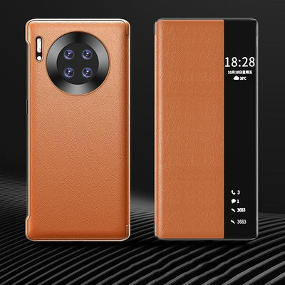 Luxury Leather Smart View Flip Case For Huawei Mate 40 Pro Mate40 Mate40pro 40pro 5G Global Version Magnetic Phone Cover Niesaner For Mate 40 Orange