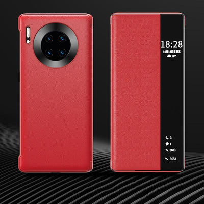 Luxury Leather Smart View Flip Case For Huawei Mate 40 Pro Mate40 Mate40pro 40pro 5G Global Version Magnetic Phone Cover Niesaner For Mate 40 Red