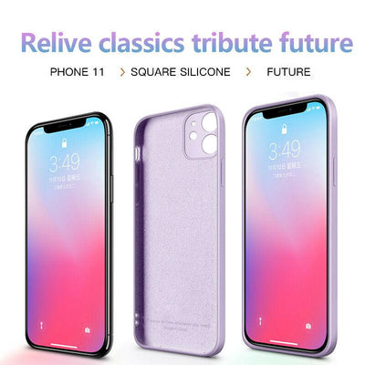 Luxury Original Square Liquid Silicone Phone Case For iPhone 12 11 Pro Max Mini XS X XR 7 8 Plus 2021 Thin Soft Cover Candy Case Niesaner