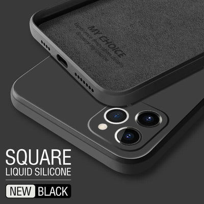 Luxury Original Square Liquid Silicone Phone Case For iPhone 12 11 Pro Max Mini XS X XR 7 8 Plus 2021 Thin Soft Cover Candy Case Niesaner for iphone 7 Black