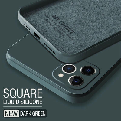 Luxury Original Square Liquid Silicone Phone Case For iPhone 12 11 Pro Max Mini XS X XR 7 8 Plus 2021 Thin Soft Cover Candy Case Niesaner for iphone 7 Dark Green