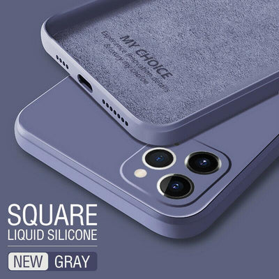Luxury Original Square Liquid Silicone Phone Case For iPhone 12 11 Pro Max Mini XS X XR 7 8 Plus 2021 Thin Soft Cover Candy Case Niesaner for iphone 7 Gray