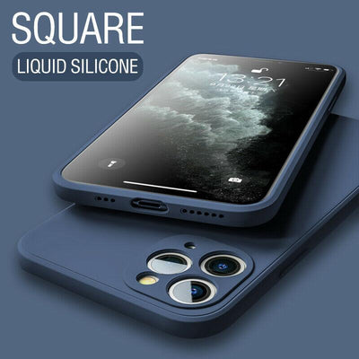 Luxury Original Square Liquid Silicone Phone Case For iPhone 12 11 Pro Max Mini XS X XR 7 8 Plus 2021 Thin Soft Cover Candy Case Niesaner for iphone 7 Navy Blue
