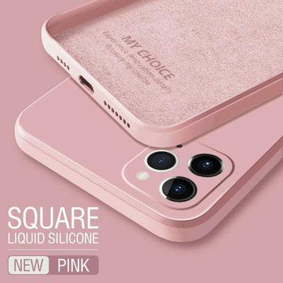 Luxury Original Square Liquid Silicone Phone Case For iPhone 12 11 Pro Max Mini XS X XR 7 8 Plus 2021 Thin Soft Cover Candy Case Niesaner for iphone 7 Pink