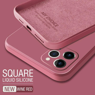 Luxury Original Square Liquid Silicone Phone Case For iPhone 12 11 Pro Max Mini XS X XR 7 8 Plus 2021 Thin Soft Cover Candy Case Niesaner for iphone 7 Red
