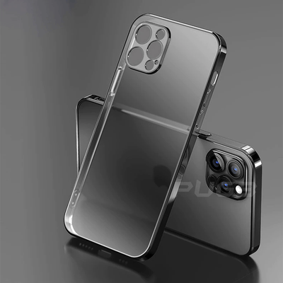 Luxury Plating Square Frame Transparent Case For iPhone Niesaner for iphone SE 2020 Black