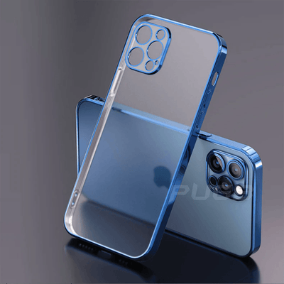Luxury Plating Square Frame Transparent Case For iPhone Niesaner for iphone SE 2020 Blue
