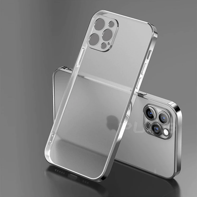 Luxury Plating Square Frame Transparent Case For iPhone Niesaner for iphone SE 2020 Clear