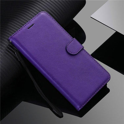 Luxury Simplicity Leather Wallet Case For LG G7 G8S ThinQ G9 Q6 V20 V30 V40 V50 V60 W30 Stylo 4 5 6 X Power 2 3 Flip Stand Cover Niesaner For LG Stylo 4 Purple