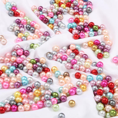 Round Multi Color No Hole Acrylic Imitation pearl beads Loose beads For DIY Scrapbook Decoration Crafts Making Niesaner