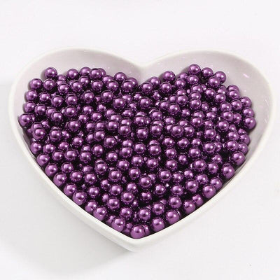 Round Multi Color No Hole Acrylic Imitation pearl beads Loose beads For DIY Scrapbook Decoration Crafts Making Niesaner Dark Purple 1000pcs 3mm