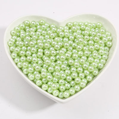 Round Multi Color No Hole Acrylic Imitation pearl beads Loose beads For DIY Scrapbook Decoration Crafts Making Niesaner Light Green 1000pcs 3mm
