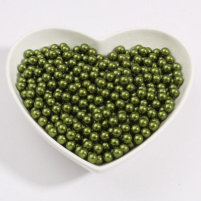 Round Multi Color No Hole Acrylic Imitation pearl beads Loose beads For DIY Scrapbook Decoration Crafts Making Niesaner Olive 1000pcs 3mm