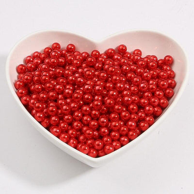 Round Multi Color No Hole Acrylic Imitation pearl beads Loose beads For DIY Scrapbook Decoration Crafts Making Niesaner Red 1000pcs 3mm