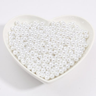 Round Multi Color No Hole Acrylic Imitation pearl beads Loose beads For DIY Scrapbook Decoration Crafts Making Niesaner White 1000pcs 3mm