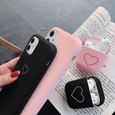 Soft Case for IPhone 11 Pro X Xr Xs Max for Airpods 1 2 Love Heart Phone Cover for IPhone 8 Plus 7 12 Pro Max Mini Niesaner