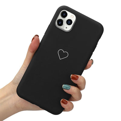Soft Case for IPhone 11 Pro X Xr Xs Max for Airpods 1 2 Love Heart Phone Cover for IPhone 8 Plus 7 12 Pro Max Mini Niesaner For iPhone 7 Plus Black (Phone case)