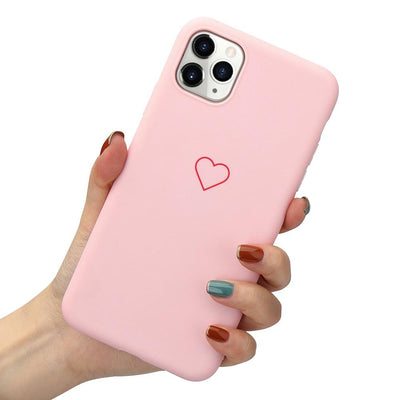 Soft Case for IPhone 11 Pro X Xr Xs Max for Airpods 1 2 Love Heart Phone Cover for IPhone 8 Plus 7 12 Pro Max Mini Niesaner For iPhone 7 Plus Pink (Phone case)