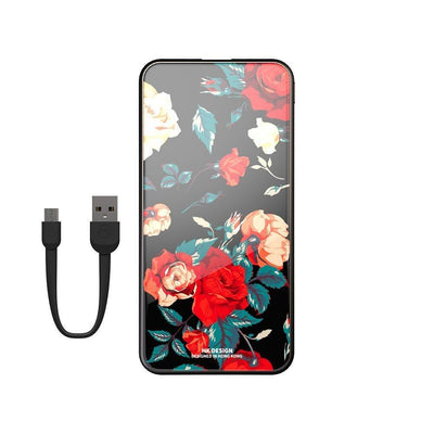 Super fashion Marble 10000mAh tempered glass portable power bank charger Niesaner shop Flower