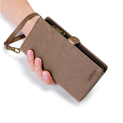 Wallet Handbag Leather Phone Case For Samsung Galaxy Niesaner Samsung S8 Dark Brown