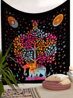 Tapestry Tie Dye Balck with Multi Color Elephant Tree Print Wall Hanging