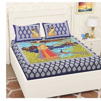 Desirable Blue Color Double Bedsheet with Pillow Covers