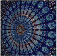 Tapestry Mandala Peacock Design With Blue Color Wall Hanging