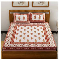 BUTA Print Brown Color Double Bedsheet with Pillow Covers