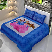 Dazzling Blue Color Double Bedsheet with Pillow Covers