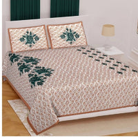 Flower Print Brown Color Double Bedsheet with Pillow Covers