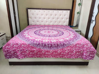 Tapestry Round Shape Pink Color Rangoli With Animal Print Wall Hanging