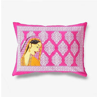 Ethenic Pink Color Double Bedsheet with Pillow Covers