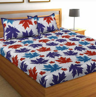 Addorable White-Blue Color Double Bedsheet with Pillow Covers