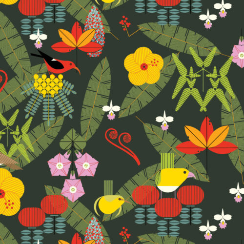 PRE-ORDER (MAY 2021): Charley Harper - Hawaiian Volcanoes - Island Birds Poplin
