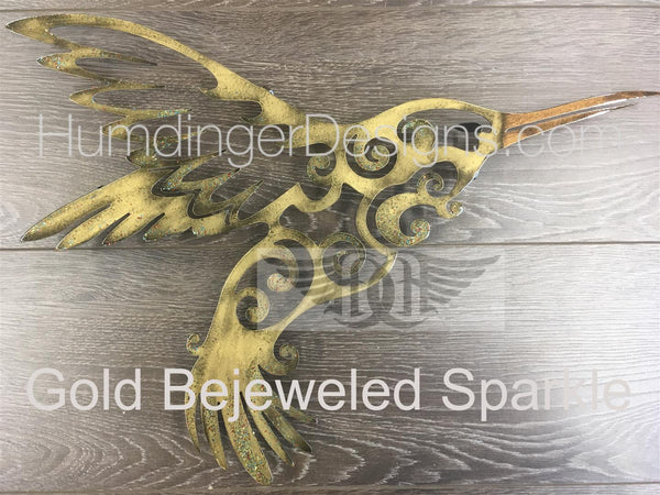 Hummingbird Metal Wall Art (Hand Painted)