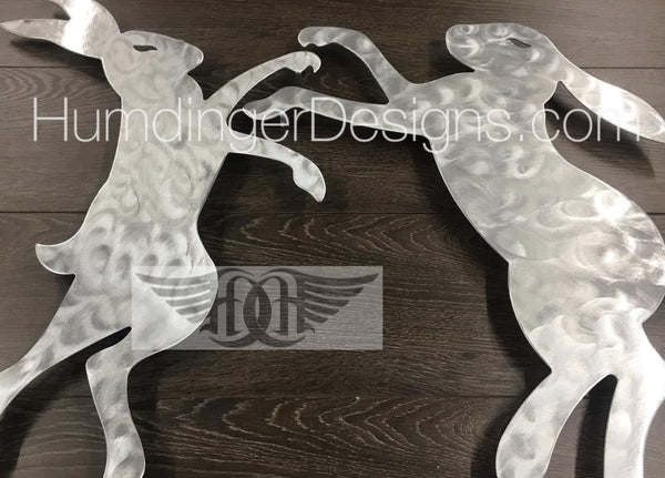 Boxing Hares Metal Wall Art