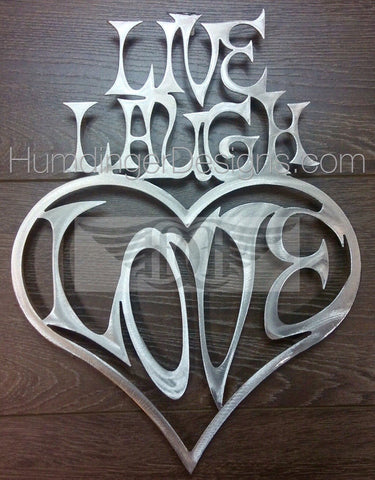 Inspirational Words - Live, Laugh, Love (Heart) Aluminum