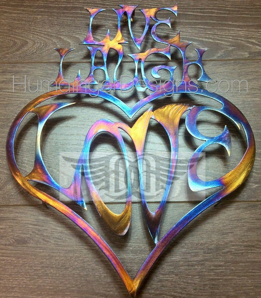 Inspirational Words - Live, Laugh, Love (Heart) Stainless Steel