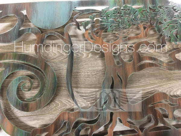 Oak Tree - Ventura Ocean Scene With Tree Metal Wall Art (Copper Verdigris)